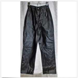 Jessica Holbrook Black leather Pants Woman Sz 6